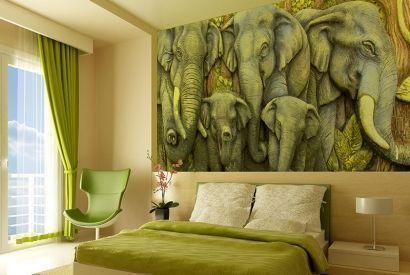 Деревья на стене в комнате подростка